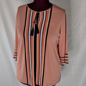 Orange and Black Striped and Print 3/4 Sleeve Top